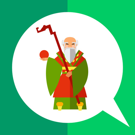 wise man: Multicolored vector icon of Chinese old wise man holding stick and fruit Illustration