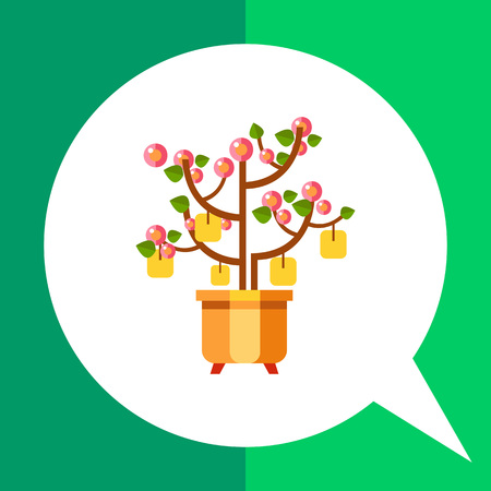 packets: Multicolored vector icon of Chinese New Year peach tree with packets with wishes
