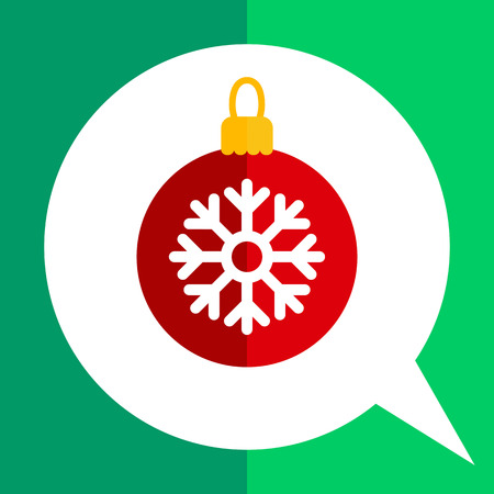 Vector icon of red Christmas ball with white snowflake picture