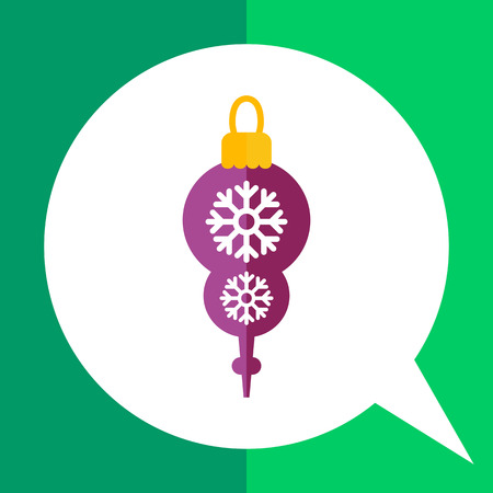 Vector icon of brown Christmas tree ornament with snowflake silhouettes