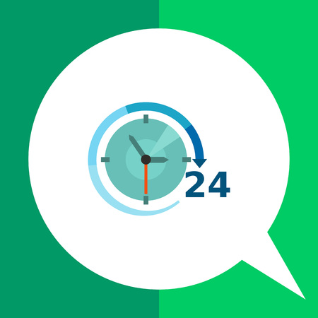 24 hour: Multicolored vector icon of clock with clock hands, arrow and 24 hour sign Illustration