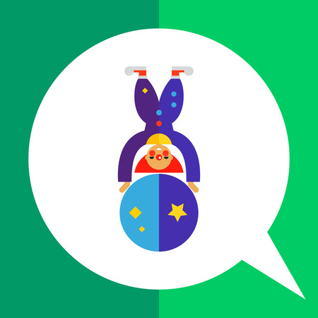 costume ball: Multicolored vector icon of cute cartoon clown character on big ball Illustration