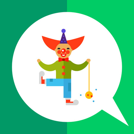 Multicolored vector icon of cute cartoon clown character with ball