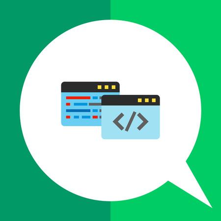 java script: Multicolored vector icon of two windows with code symbols representing coding concept