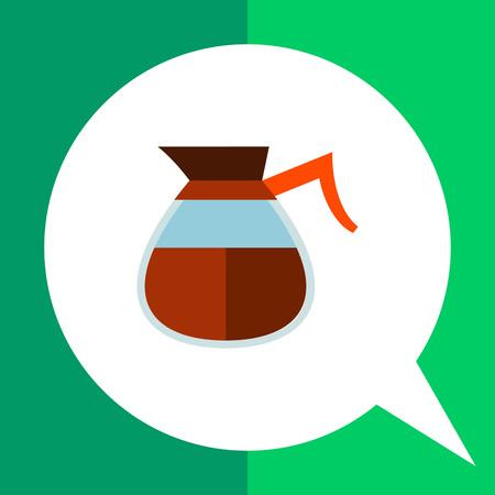 Icona della caffettiera bicchiere di caffè americano con manico rosso