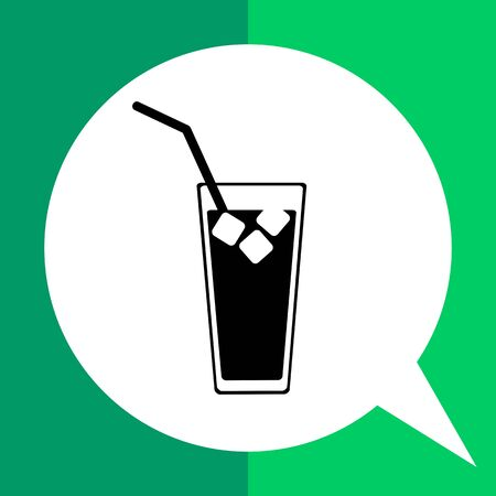 gulp: Monochrome vector icon of cold drink with ice and tube in glass