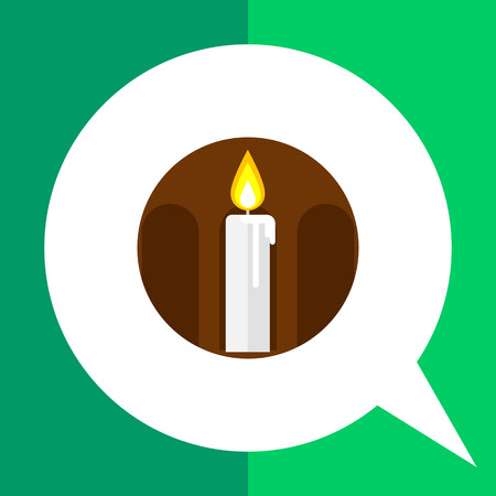 rite: Icon of burning wax candle in brown circle with silhouette of arcature Illustration