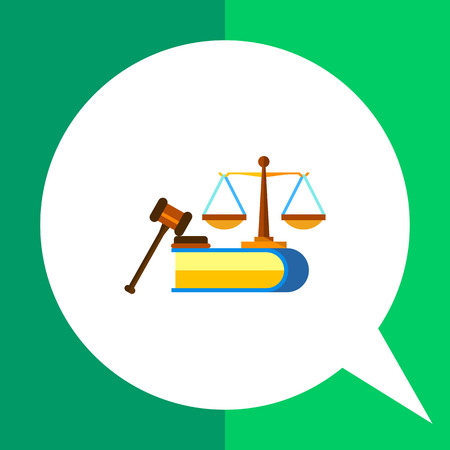 civil: Multicolored vector icon of scales, book and judge gavel representing civil rights