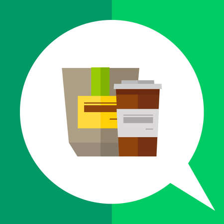 paperbag: Icon of coffee in brown plastic cup and grey paper-bag with yellow label