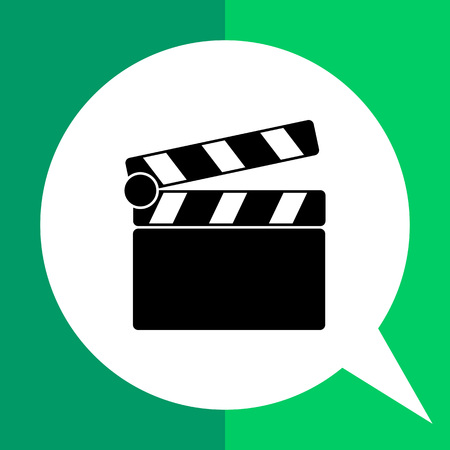 synchronizing: Monochrome vector icon of clapperboard, time slate for picture and sound synchronizing Illustration