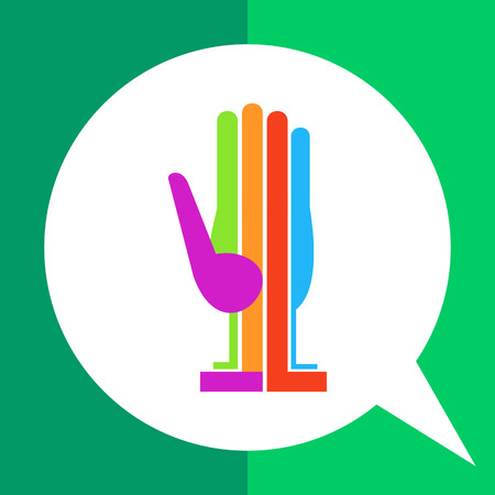 oriented: Multicolored vector icon of colored and oriented vertically hand palm, one color for each finger