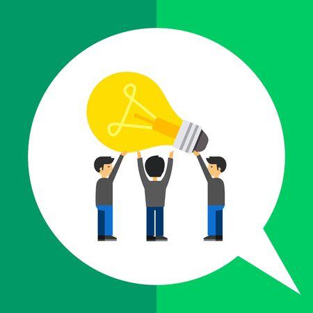 Common idea icon. Multicolored vector illustration of people having common idea