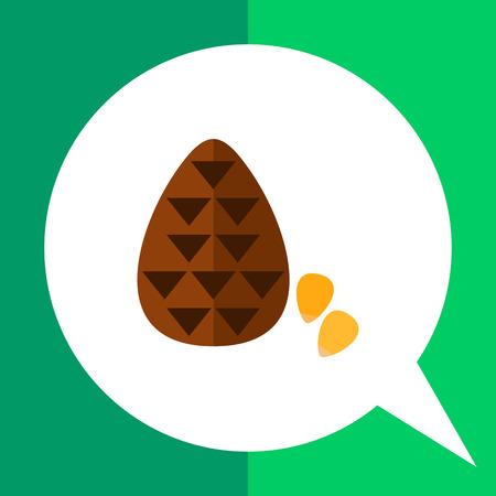 nutshell: Multicolored vector icon of cone and pine nuts