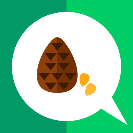 Multicolored vector icon of cone and pine nuts