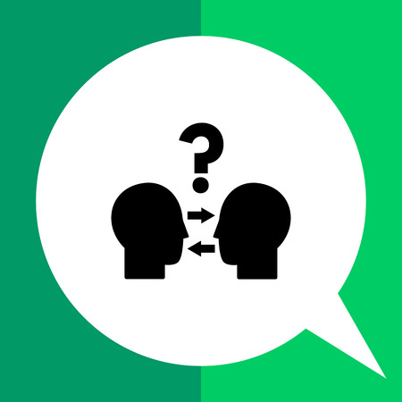 resolution: Head silhouettes looking at each other. Conflict resolution, negotiation, dispute resolution. Conflict management concept. Can be used for topics like business, communication, management, relations