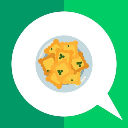 Multicolored vector icon of cookies served on blue plate Illustration