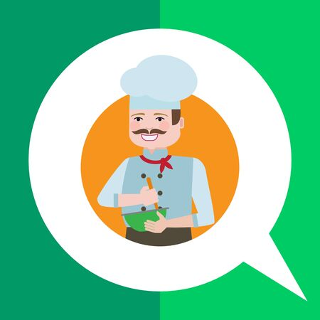 mixing: Male character, portrait of male chef with moustache, mixing ingredients in bowl
