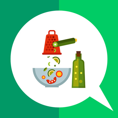 grater: Multicolored vector icon of glass bowl with vegetable salad ingredients, grater, cucumber and bottle of oil Illustration