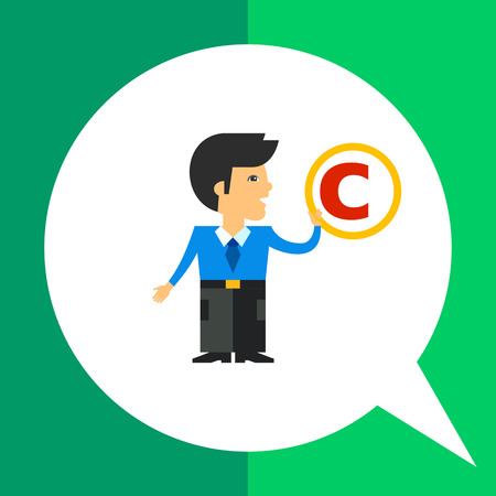 man holding sign: Multicolored vector icon of man holding sign of copyright
