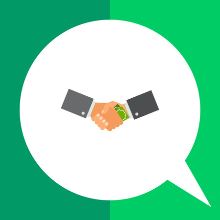 corruption: Multicolored vector icon of shaking hands holding banknotes representing corruption concept Illustration