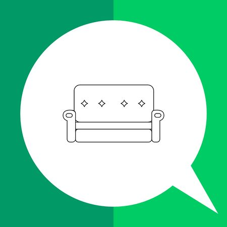 Monochrome vector icon of couch with decorated back and armrests