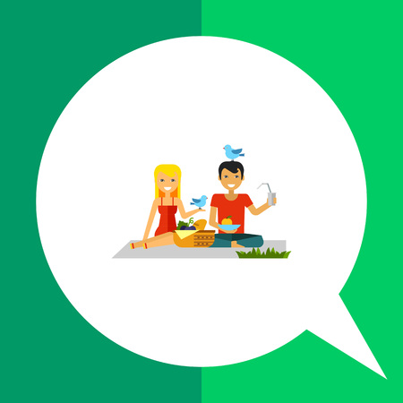 Couple on picnic vector icon. Multicolored illustration of happy woman and man on picnic