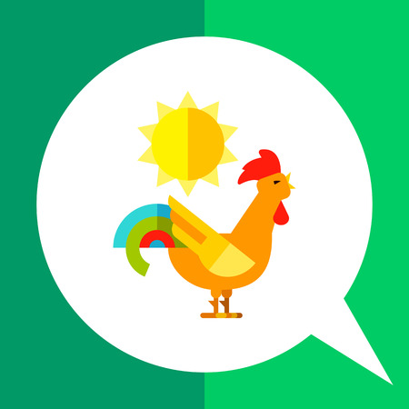 crowing: Multicolored vector icon of crazy rooster crowing in daytime Illustration