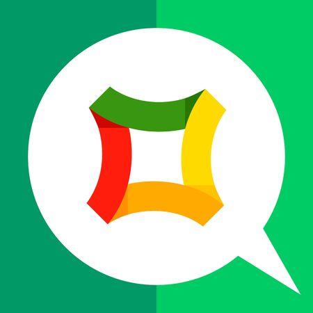 Multicolored vector icon of square shape for creative design Illustration