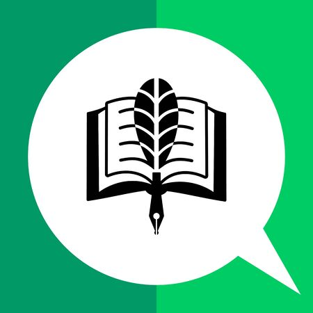 Monochrome vector icon of open book and pen with original feather representing creative teaching Illustration