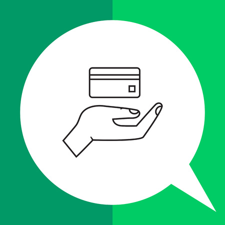 withdraw: Icon of human palm holding credit card