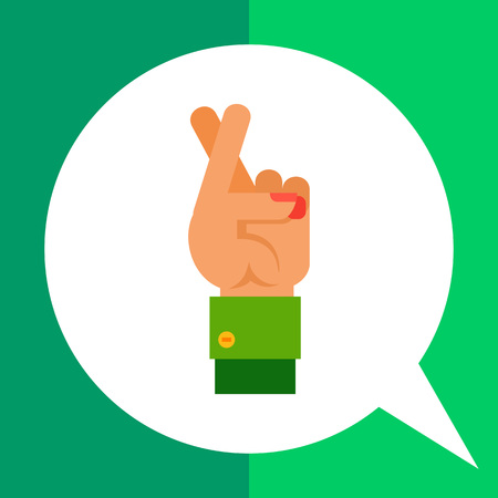 Multicolored vector icon of left hand holding up two crossed fingers