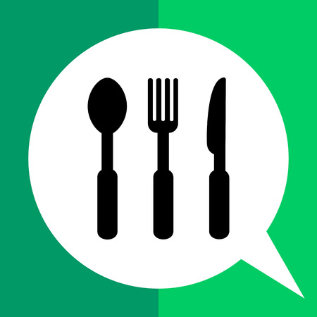 Monochrome vector icon of spoon, fork and knife, representing cutlery Illustration