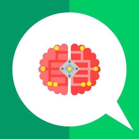 icono de vectores multicolor del cerebro humano con la cibernética esquema eléctrico que representa