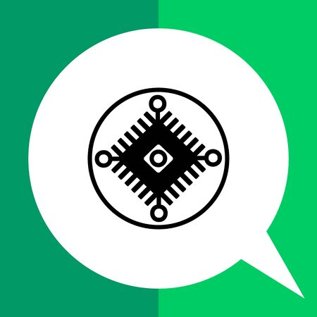 cybernetics: Monochrome vector icon of electric scheme in circle representing cybernetics