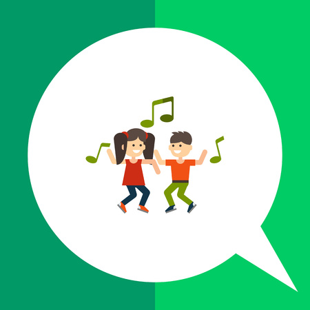 Multicolored vector icon of dancing girl, boy and green musical notes