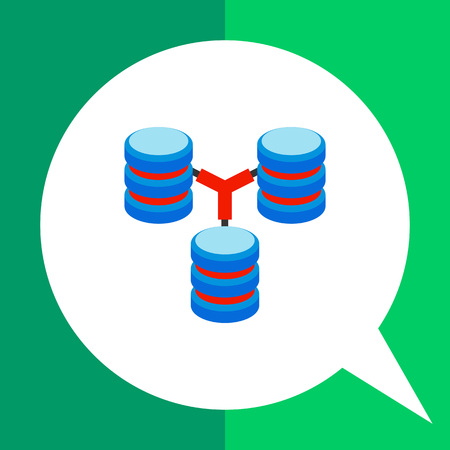 Multicolored vector icon of three connected stacks of discs representing database concept