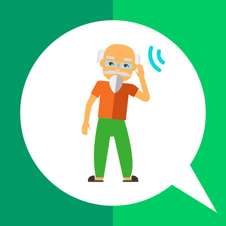 impaired: Multicolored flat icon of deaf old man with beard, wearing glasses Illustration