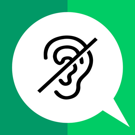 inability: Deaf flat icon. Vector minimalistic illustration of ear with inability to hear