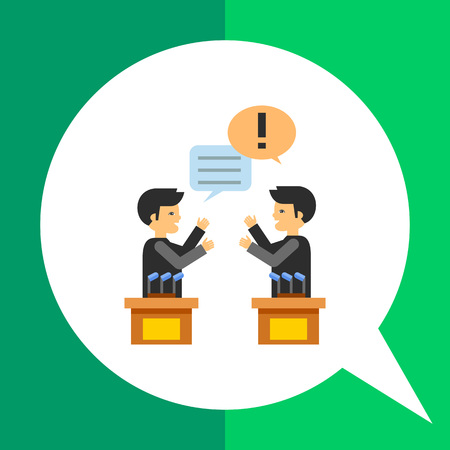 Debates icon. Multicolored vector illustration of two male characters in political debates Illustration
