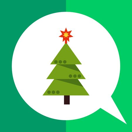 Multicolored vector icon of decorated Christmas tree Illustration