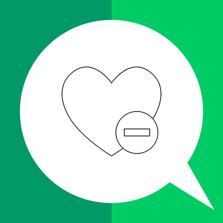 disapproving: Vector line icon of heart and minus sign representing deleting of favorites
