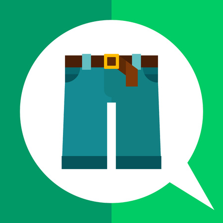 breeches: Multicolored vector icon of denim shorts with brown belt and buckle