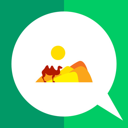 Icon of desert landscape with sand hills, sun and camel Illustration