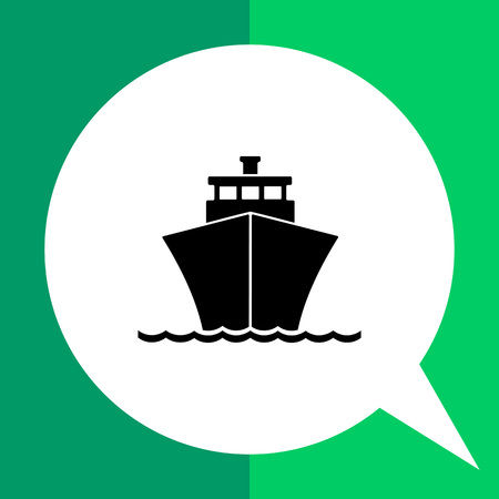 Monochrome vector icon of passenger cruise liner riding on waves