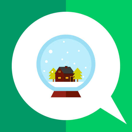 spruce: Vector icon of crystal ball with house and two spruce inside Illustration