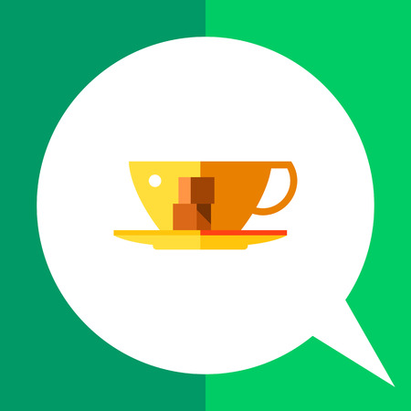 Multicolored vector icon of cup with two pieces of sugar on saucer