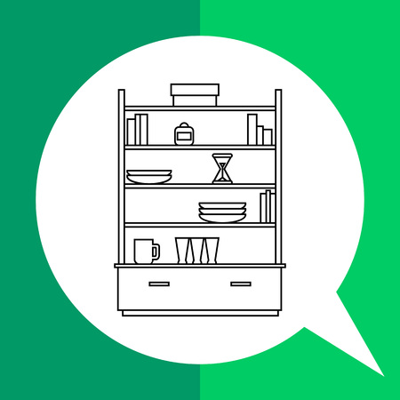 house ware: Monochrome vector icon of cupboard with plates, glasses, cups, books and box