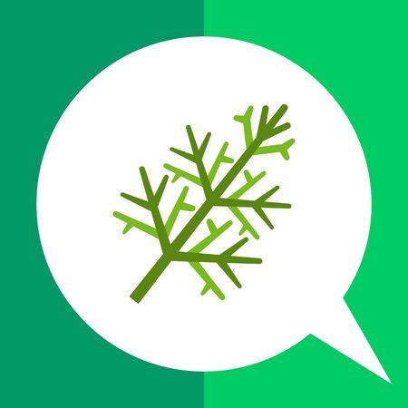 a sprig: Multicolored vector icon of fresh green dill