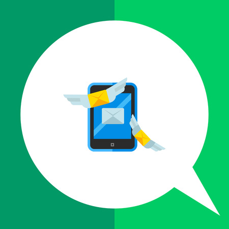 sending: Direct message icon. Multicolored vector illustration of smartphone with sending envelope symbol
