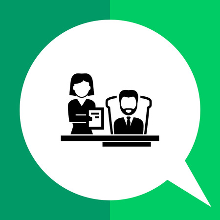 executive assistants: Director vector icon. Black and white illustration of director with his assistant